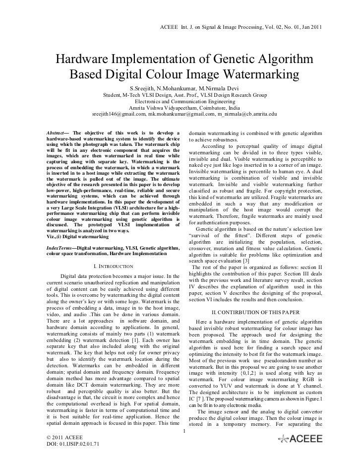 Hardware Implementation of Genetic Algorithm Based Digital Colour Image Watermarking