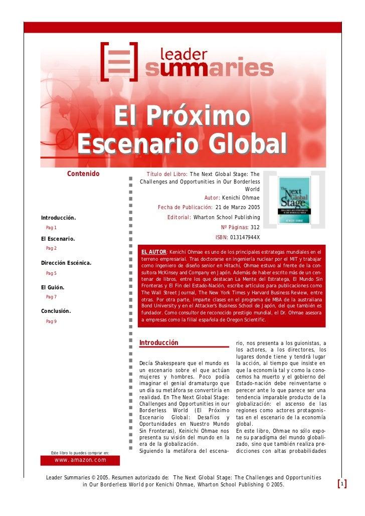 El Próximo                Escenario Global            Contenido                   Título del Libro: The Next Global Stage:...