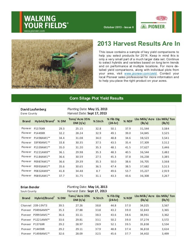 WALKING YOUR FIELDS  ®  October 2013 - Issue 6  www.pioneer.com  2013 Harvest Results Are In This issue contains a sample ...
