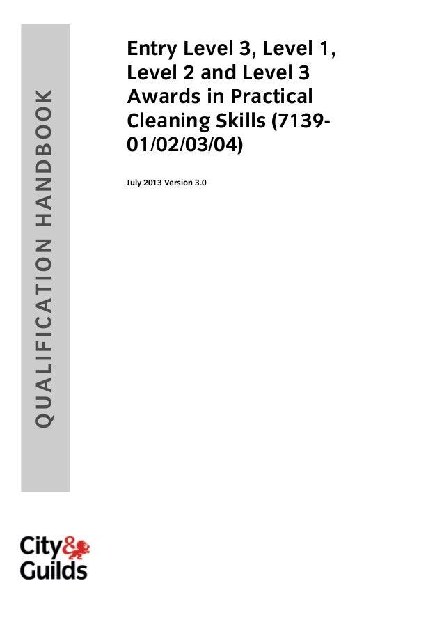 7139 E3/L1/L2 Practical Cleaning Skills Award QualificationHandbook