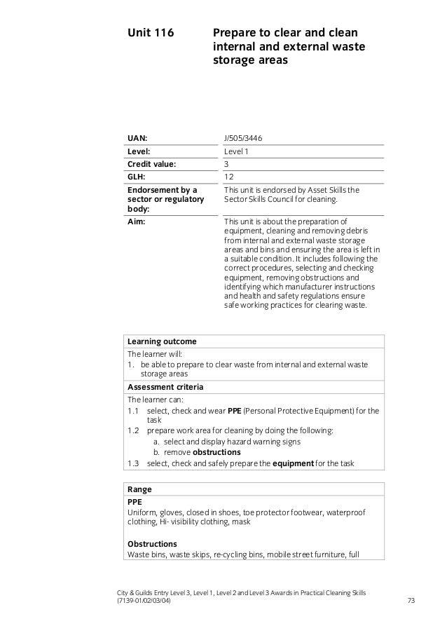 e  l  l practical cleaning skills award qualificationhandbook