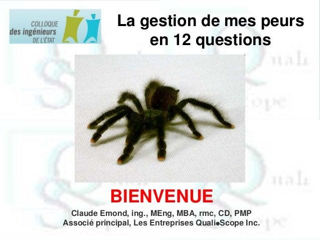 La gestion de mes peurs en 12 questions  BIENVENUE Claude Emond, ing., MEng, MBA, rmc, CD, PMP Associé principal, Les Entr...