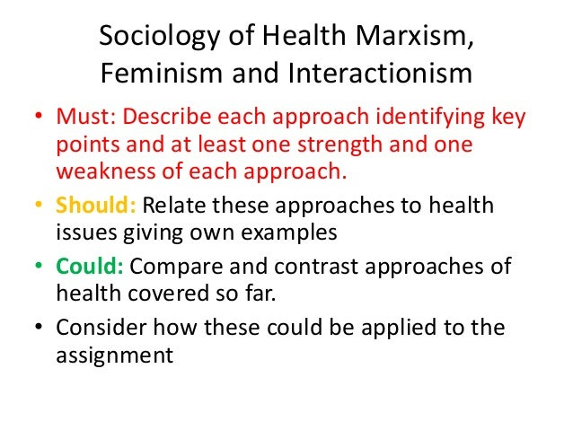 Sociology of Health Marxism, Feminism and Interactionism • Must: Describe each approach identifying key points and at leas...