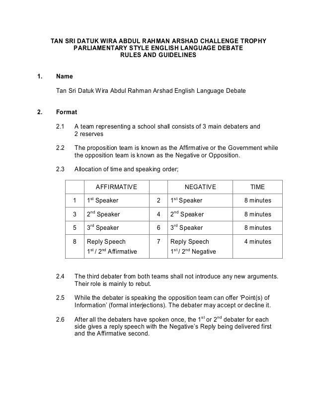 TAN SRI DATUK WIRA ABDUL RAHMAN ARSHAD CHALLENGE TROPHY           PARLIAMENTARY STYLE ENGLISH LANGUAGE DEBATE             ...