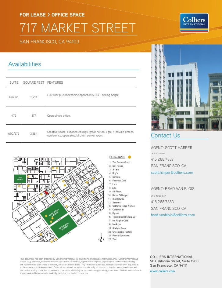 FOR LEASE > OFFICE SPACE                          717 MARKET STREET                          SAN FRANCISCO, CA 94103Availa...