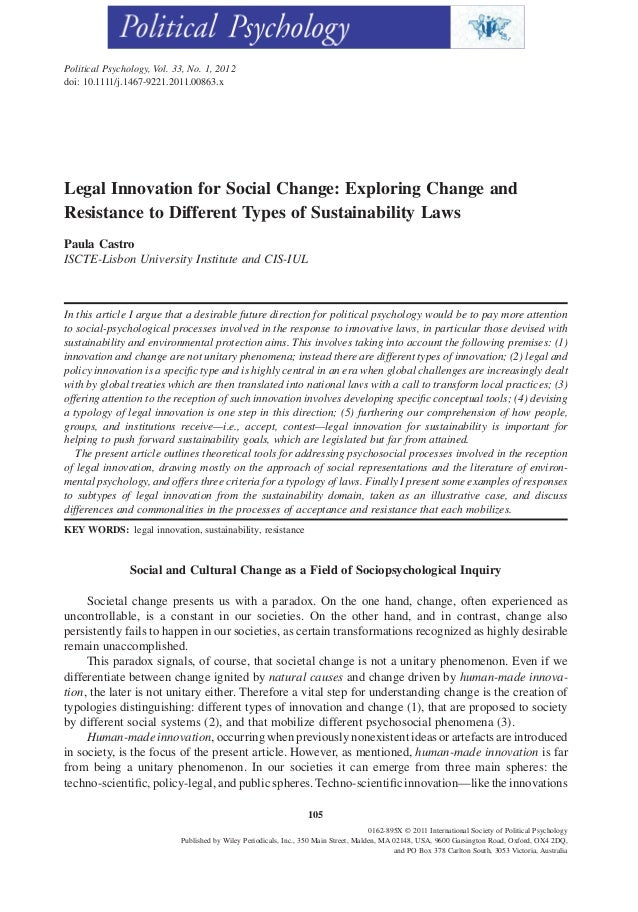 Political Psychology, Vol. 33, No. 1, 2012doi: 10.1111/j.1467-9221.2011.00863.xLegal Innovation for Social Change: Explori...