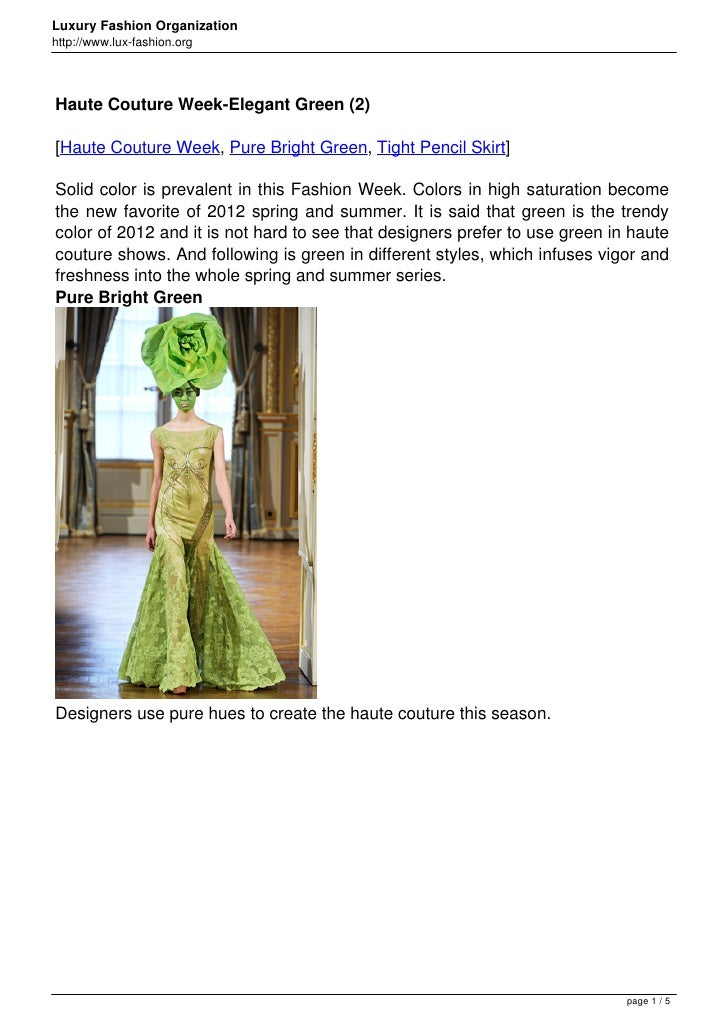 Luxury Fashion Organizationhttp://www.lux-fashion.orgHaute Couture Week-Elegant Green (2)[Haute Couture Week, Pure Bright ...