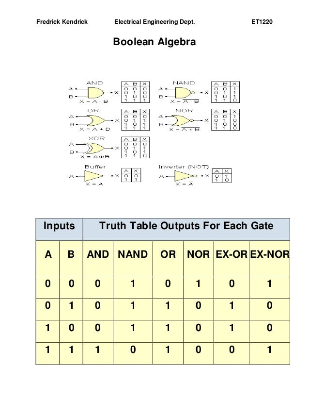how to read electrical truth tables