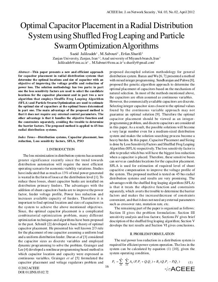 ACEEE Int. J. on Network Security , Vol. 03, No. 02, April 2012 Optimal Capacitor Placement in a Radial Distribution  Syst...