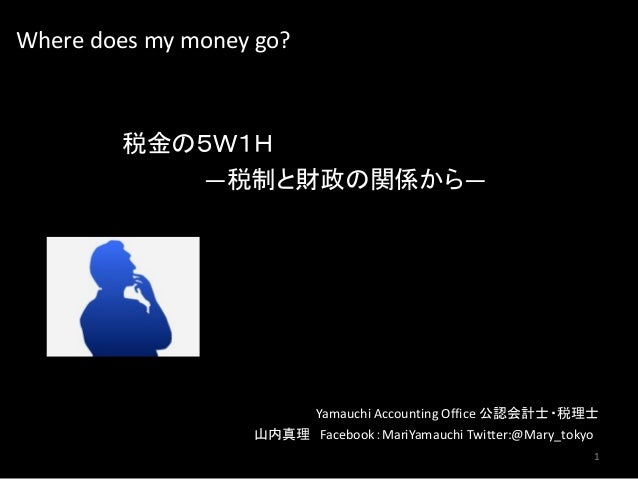 Where does my money go? 税金の5W1H ―税制と財政の関係から― Yamauchi Accounting Office 公認会計士・税理士 山内真理 Facebook:MariYamauchi Twitter:@Mary...