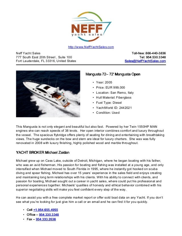 72' 2005 mangusta 72 yacht for sale   neff yacht sales