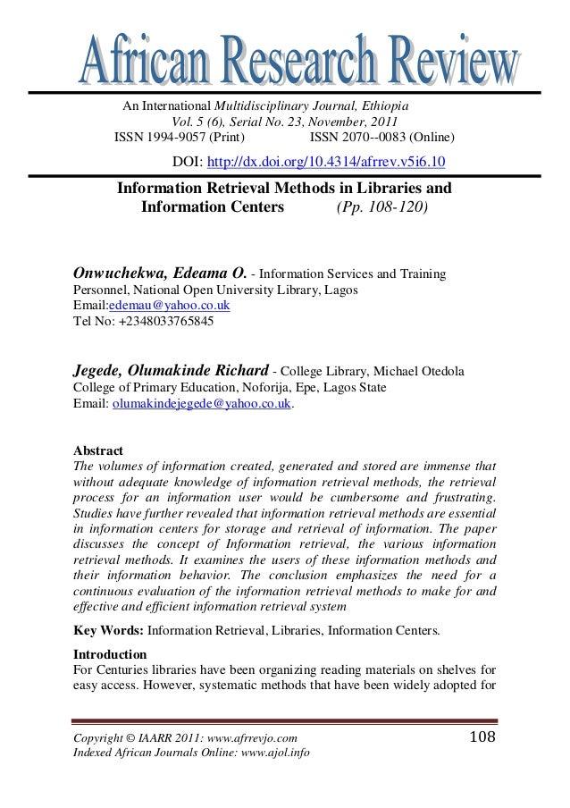 Copyright © IAARR 2011: www.afrrevjo.com 108 Indexed African Journals Online: www.ajol.info An International Multidiscipli...