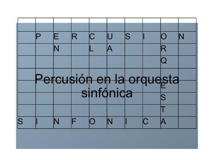 Percusión en la orquesta sinfónica P E R C U S I O N N L A R Q E S T S I N F O N I C A