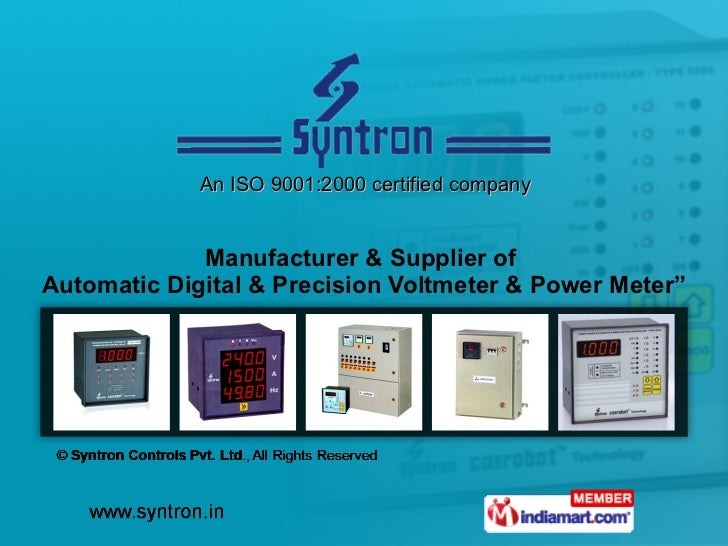 """An ISO 9001:2000 certified company Manufacturer & Supplier of  Automatic Digital & Precision Voltmeter & Power Meter"""""""
