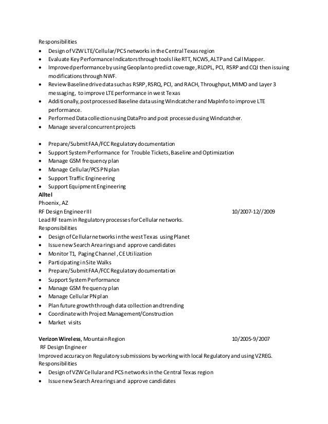 Resume for rf engineer