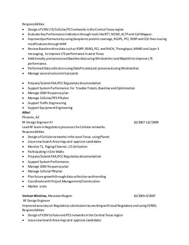 Superb Rf Engineer Resume Throughout Rf Engineer Resume