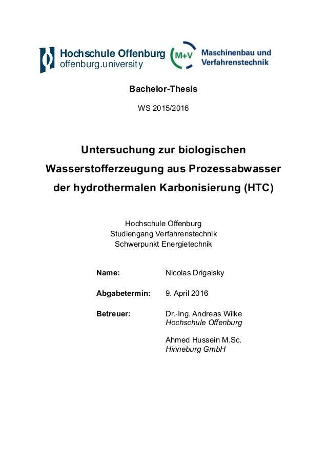 Hochschule Offenburg offenburg.university Bachelor-Thesis WS 2015/2016 Untersuchung zur biologischen Wasserstofferzeugung ...