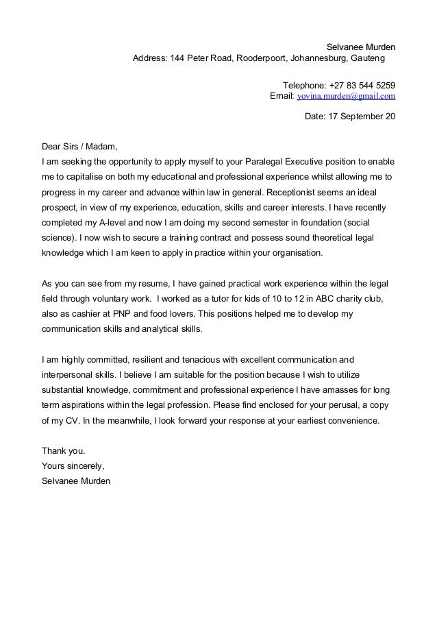 Selvanee Murdenselvanee Murden Address 144 Peter Road Rooderpoort Johannesburg Gauteng Telephone Unemployed Cover Letter Template