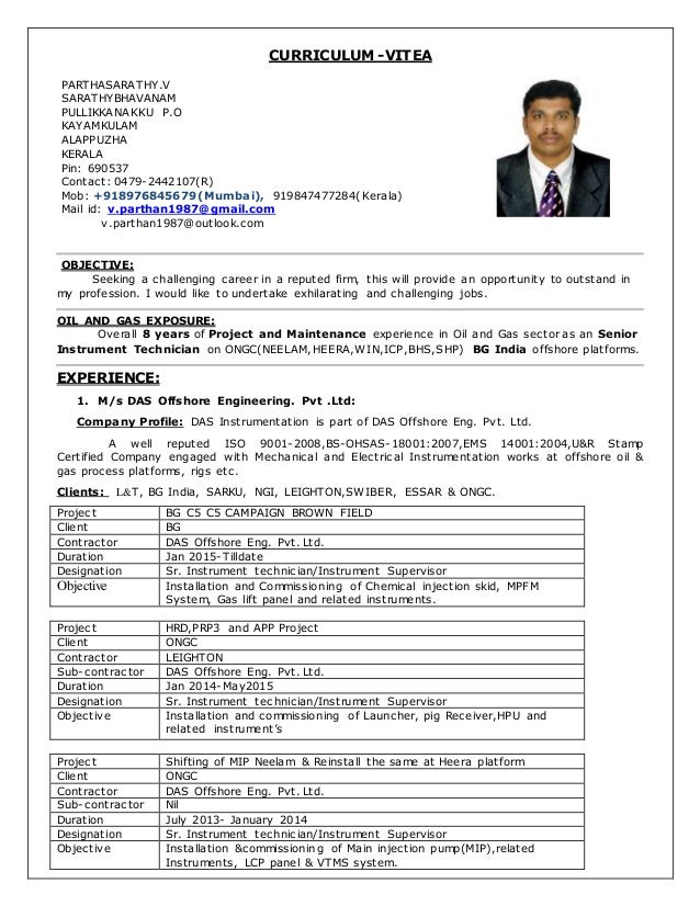 1 CV for Sr instrument technician in 8 years exp