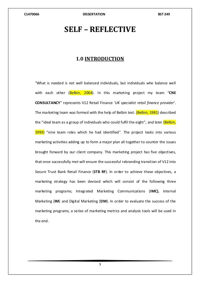 reflective report dissertation