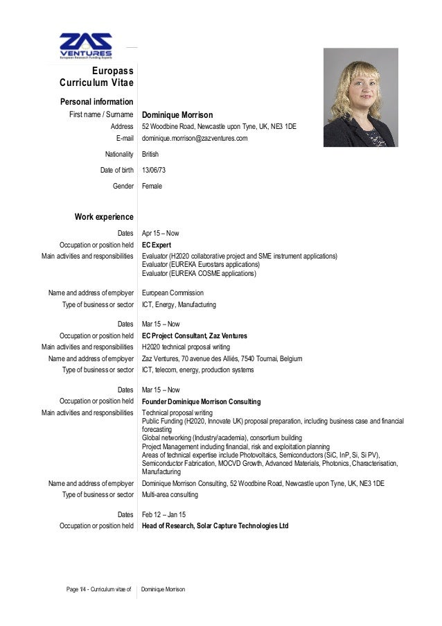 cv consultant dominique morrison