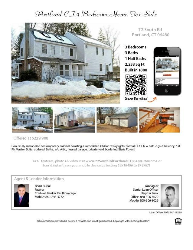 Portland CT 3 Bedroom Home For Sale