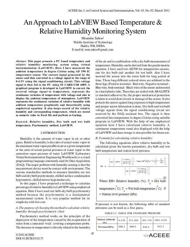 ACEEE Int. J. on Control System and Instrumentation, Vol. 03, No. 02, March 2012      An Approach to LabVIEW Based Tempera...