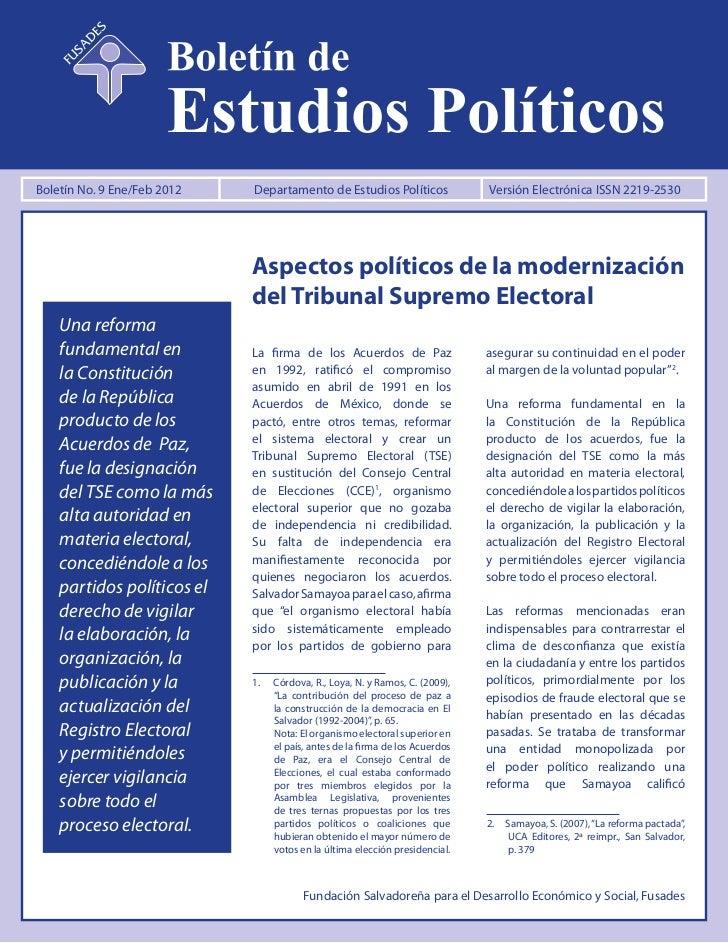 Aspectos políticos de la modernización del TSE, Boletín No 9: