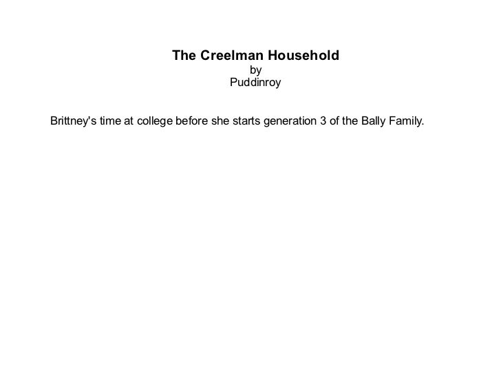 The Creelman Household by Puddinroy Brittney's time at college before she starts generation 3 of the Bally Family.