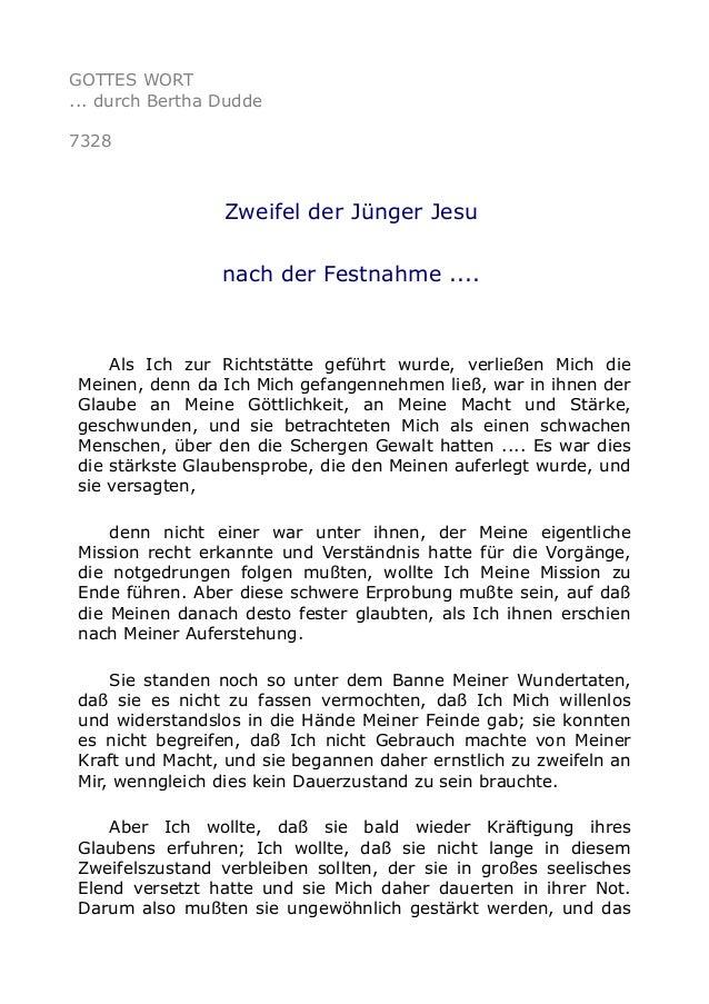 GOTTES WORT  ... durch Bertha Dudde  7328  Zweifel der Jünger Jesu  nach der Festnahme ....  Als Ich zur Richtstätte gefüh...