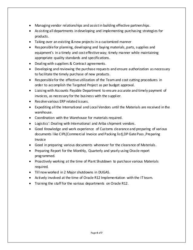 Procurement Resume Cover Letter