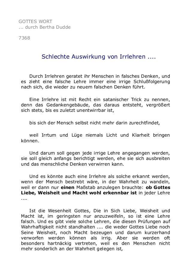 GOTTES WORT  ... durch Bertha Dudde  7368  Schlechte Auswirkung von Irrlehren ....  Durch Irrlehren geratet ihr Menschen i...