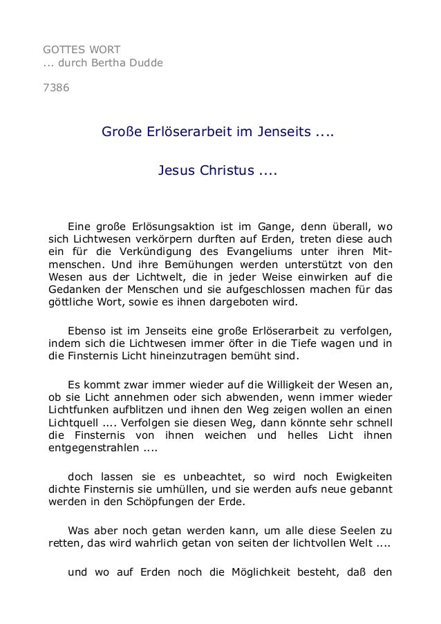 GOTTES WORT  ... durch Bertha Dudde  7386  Große Erlöserarbeit im Jenseits ....  Jesus Christus ....  Eine große Erlösungs...