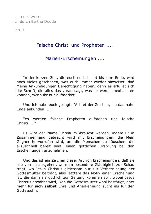GOTTES WORT  ... durch Bertha Dudde  7389  Falsche Christi und Propheten ....  Marien-Erscheinungen ....  In der kurzen Ze...