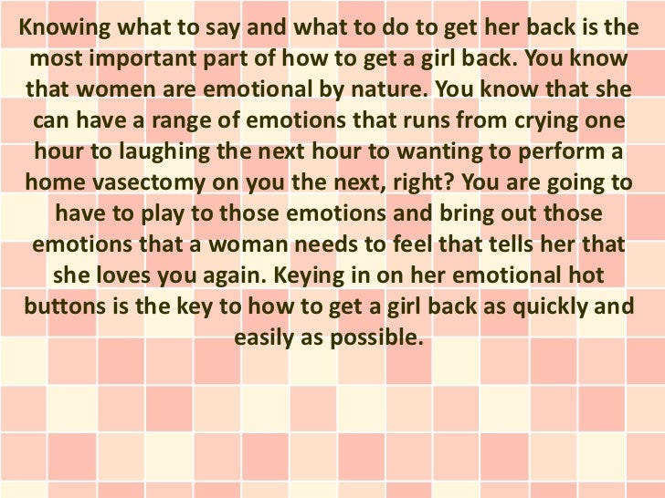How To Win A Woman Back