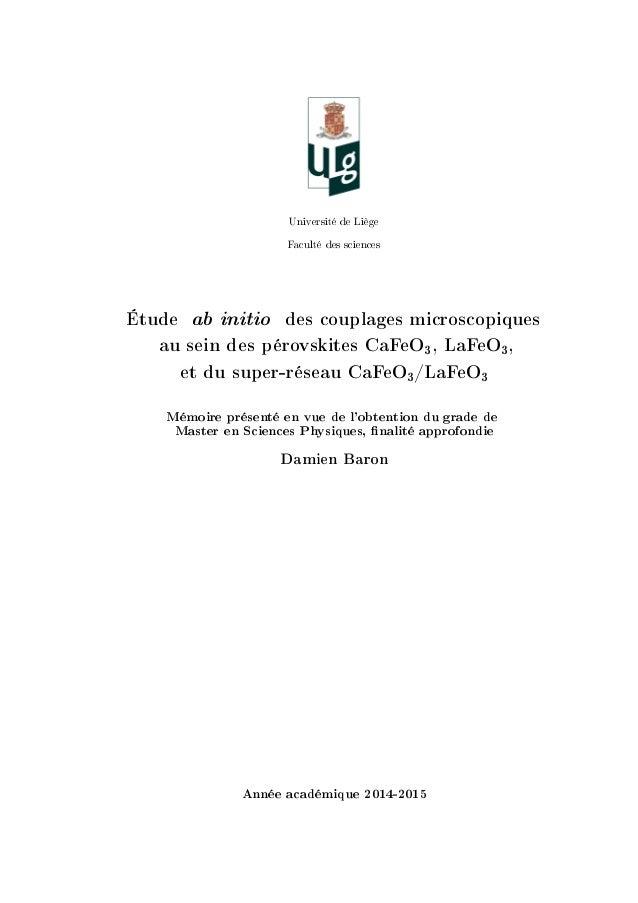…niversité de viège p—™ulté des s™ien™es Étude ab initio des couplages microscopiques au sein des pérovskites CaFeO3, LaFe...