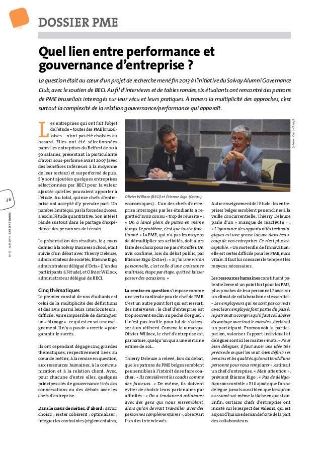 DOSSIER PME 36363636 Quel lien entre performance et gouvernance d'entreprise ? Laquestionétaitaucœurd'unprojetderecherchem...
