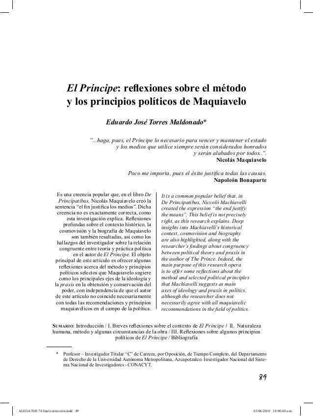 El Principe: reflexiones sobre el método y los principios políticos de Maquiavelo pp. 89-114  El Príncipe: reflexiones so...