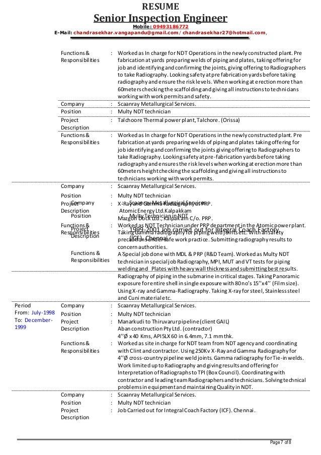 Senior Inspection Engineer V.Chandrasekhar RESUME as on 01-12-2014