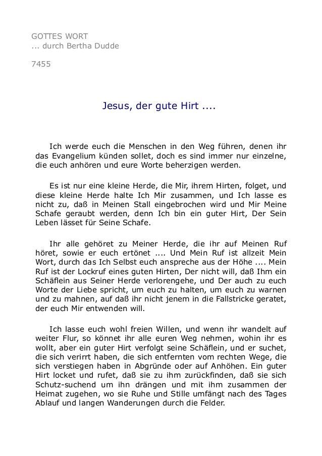 GOTTES WORT  ... durch Bertha Dudde  7455  Jesus, der gute Hirt ....  Ich werde euch die Menschen in den Weg führen, denen...