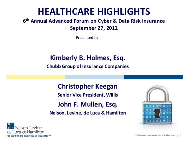 HEALTHCARE HIGHLIGHTS 6th Annual Advanced Forum on Cyber & Data Risk Insurance September 27, 2012 Presented by:  Kimberly ...