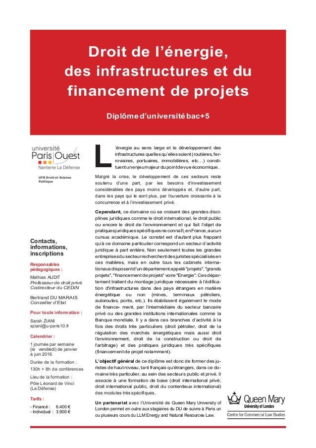 L Contacts, informations, inscriptions Responsables pédagogiques : Mathias AUDIT Professeur de droit privé Codirecteur d...