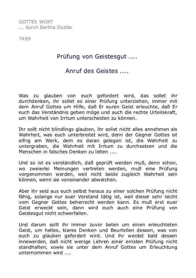 GOTTES WORT  ... durch Bertha Dudde  7499  Prüfung von Geistesgut ....  Anruf des Geistes ....  Was zu glauben von euch ge...