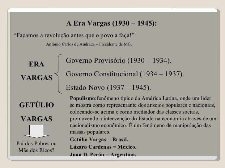 """A Era Vargas (1930 – 1945): """" Façamos a revolução antes que o povo a faça!"""" Antônio Carlos de Andrada – Presidente de MG. ..."""