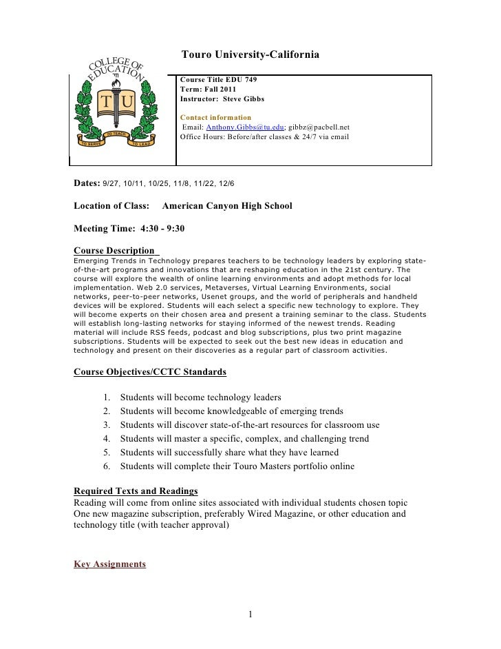 Touro University-California                             Course Title EDU 749                             Term: Fall 2011  ...
