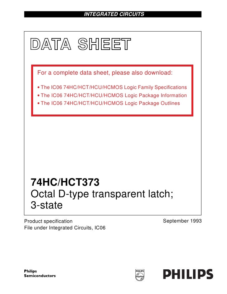INTEGRATED CIRCUITS  DATA SHEET     For a complete data sheet, please also download:     • The IC06 74HC/HCT/HCU/HCMOS Log...
