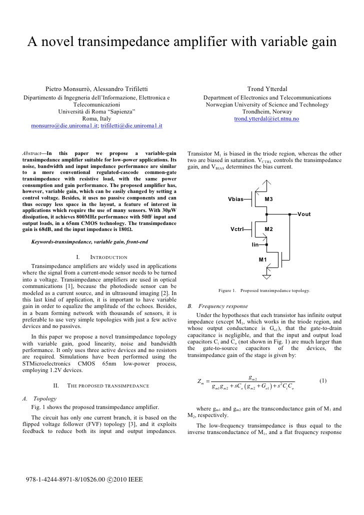 A novel transimpedance amplifier with variable gain         Pietro Monsurrò, Alessandro Trifiletti                        ...