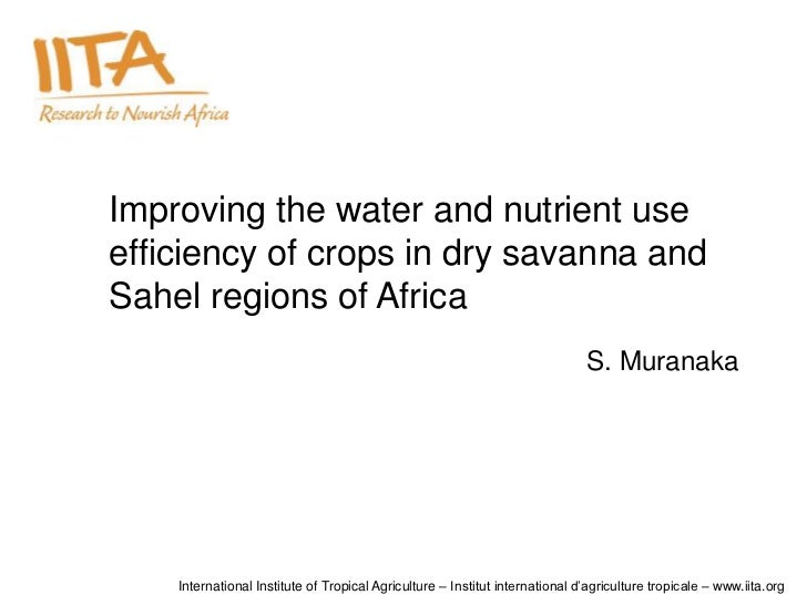 Improving the water and nutrient useefficiency of crops in dry savanna andSahel regions of Africa                         ...
