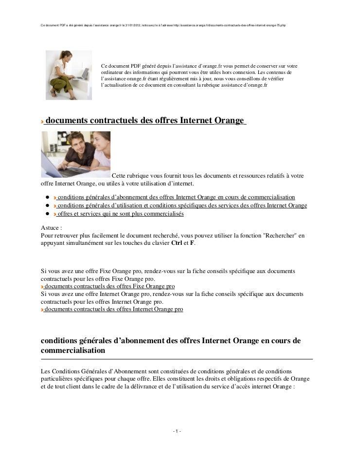 Ce document PDF a été généré depuis l'assistance orange.fr le 31/01/2012, retrouvez le à l'adresse http://assistance.orang...