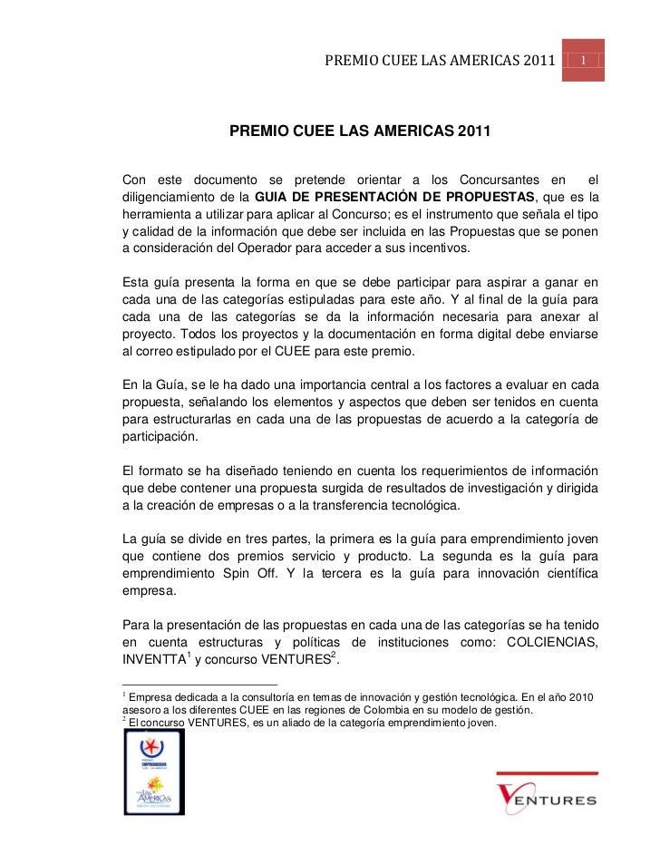 PREMIO CUEE LAS AMERICAS 2011                       1                     PREMIO CUEE LAS AMERICAS 2011Con este documento ...
